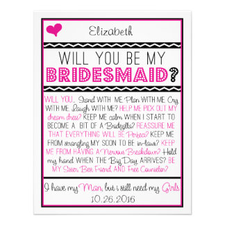 Will you be my Bridesmaid Pink Black Collage Card