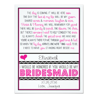 Will you be my Bridesmaid? Pink/Black Poem Card V2 Custom Invitations