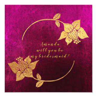Will You Be My Bridesmaid Pink Fuchsia Velvet Gold Card