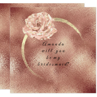 Will You Be My Bridesmaid Pink Gold Rose Glass Lux Card