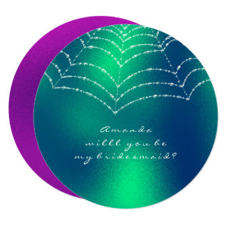Will You Be My Bridesmaid Pink Green Dewy Web Card