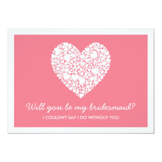 """Will You Be My Bridesmaid? Pink Heart Card 5"""" X 7"""" Invitation Card"""