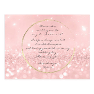 Will You Be My Bridesmaid Pink Powder Gold Glitter Postcard