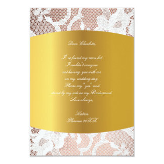 Will You Be My Bridesmaid? Pink Rose Gold Lace Card
