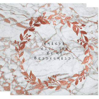 Will You Be My Bridesmaid Pink Rose Gold Marble Card