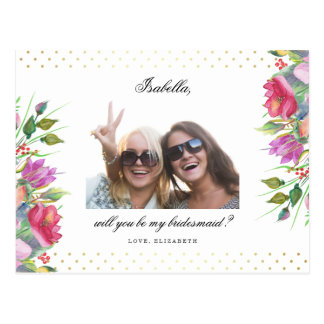 Will You Be My Bridesmaid | Polka Dots & Flowers Postcard