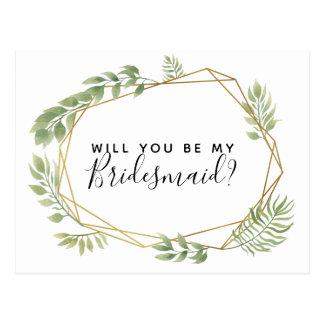 Will you be my bridesmaid postcard greenery leaf