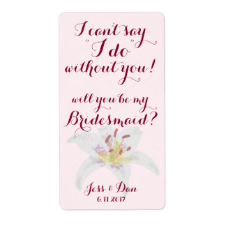 Will you be my Bridesmaid Proposal Wine label Shipping Label