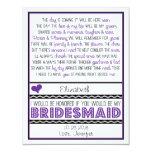 Will you be my Bridesmaid? Purple/Black Poem V2