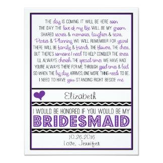 "Will you be my Bridesmaid? Purple/Black Poem V2 4.25"" X 5.5"" Invitation Card"