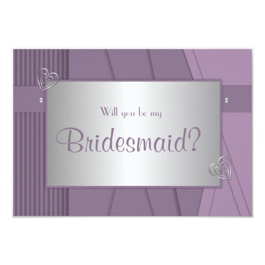 Will you be my bridesmaid Purple Violet & Silver Card