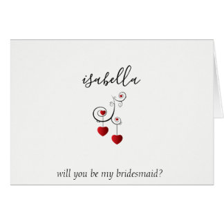 Will You be My Bridesmaid - Red Hearts Card