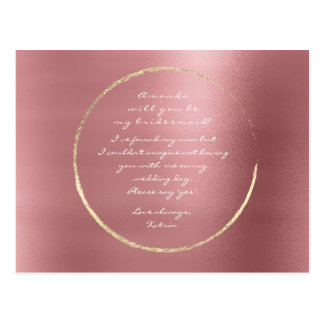 Will You Be My Bridesmaid Rose Gold Circle Red Bin Postcard