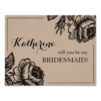 Will You Be My Bridesmaid Rustic Chic Floral Card