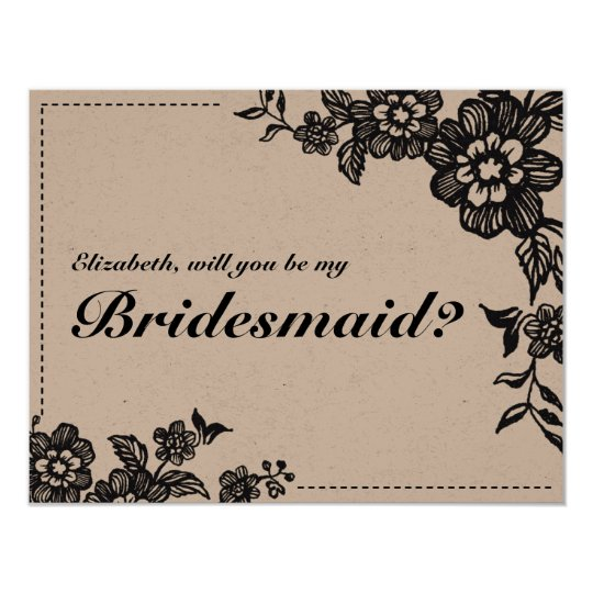 Will You Be My Bridesmaid Rustic Floral  Card