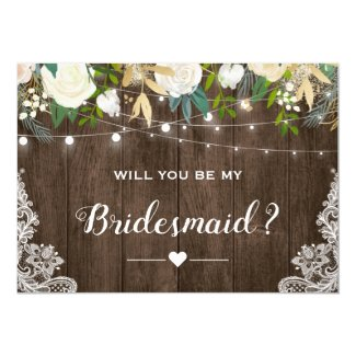 Will You Be My Bridesmaid Rustic Romantic Floral Card