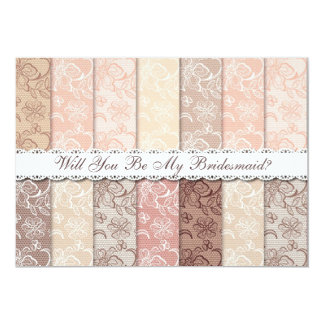 Will You Be My Bridesmaid? Rustic Vintage Lace Card