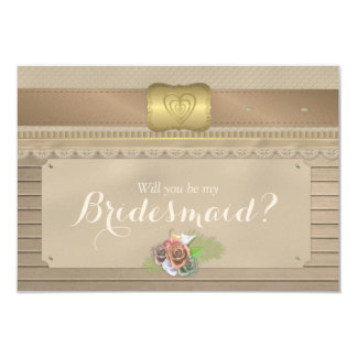 Will you be my bridesmaid rustic wood cowboy belt card