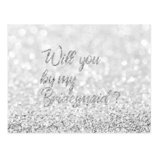 Will You Be My Bridesmaid Script Silver Glitter Postcard