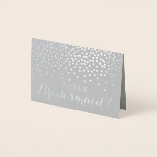 Will You Be My Bridesmaid Silver Foil Wedding Foil Card