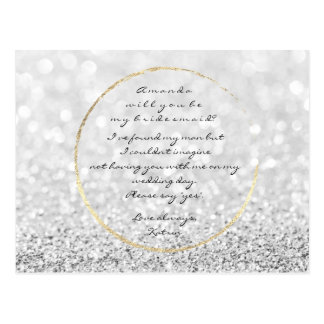 Will You Be My Bridesmaid Silver Gray Gold Glitter Postcard
