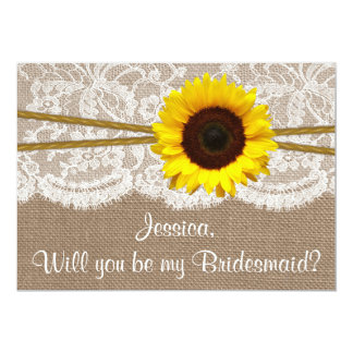 """Will You Be My Bridesmaid? Sunflower Rustic Burlap 5"""" X 7"""" Invitation Card"""