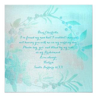Will You Be My Bridesmaid Tiffany Ocean Aqua Blue Card