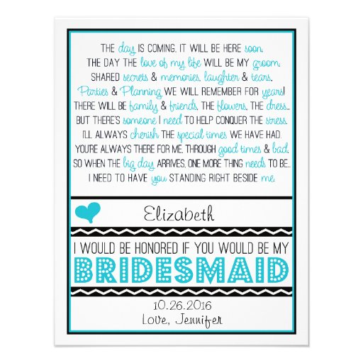 Will you be my Bridesmaid? Turquoise/Black Poem V2 Custom Announcement