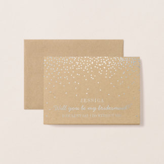 Will You Be My Bridesmaid? Vintage Confetti Foil Card