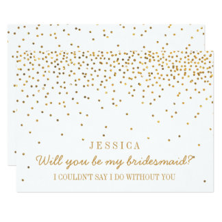 "Will You Be My Bridesmaid? Vintage Gold Confetti 5"" X 7"" Invitation Card"