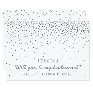 "Will You Be My Bridesmaid? Vintage Silver Confetti 5"" X 7"" Invitation Card"