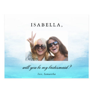 Will You Be My Bridesmaid | Watercolor Ocean Tides Postcard