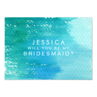 "Will You Be My Bridesmaid Watercolor Wash 5"" X 7"" Invitation Card"