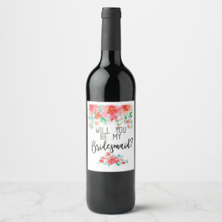 Will You Be My Bridesmaid? Wedding Favour Wine Label