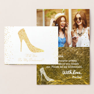 Will You Be My Bridesmaid Wedding Shoes Gold Foil Foil Card