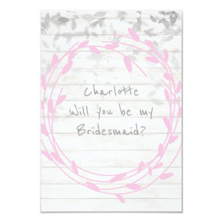 Will You Be My Bridesmaid White Pink Wood Confetti Card