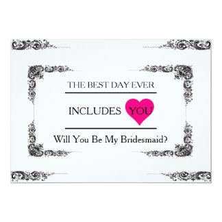 "Will You Be My Bridesmaid with Pink Heart 5"" X 7"" Invitation Card"