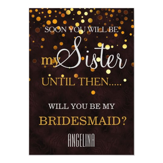 Will you be my bridesmaid? Wooden Background Card