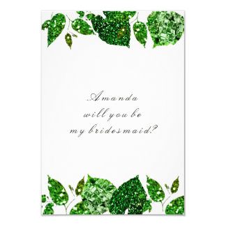 Will You Be My Bridesmaid Woodland Cali Green Whit Card