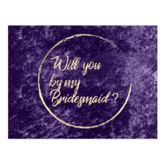 Will You Be My Bridesmaid  Wreath Violet Gold Postcard