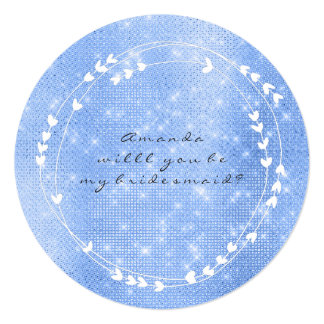 Will You Be My Bridesmaid Wreath White Blue Celest Card