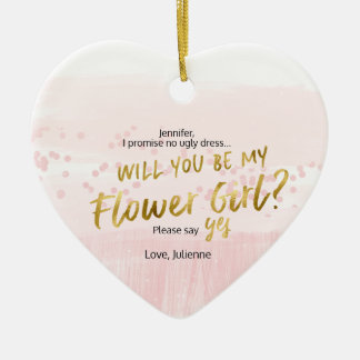 Will you be my Flower Girl Blush Watercolor Ceramic Ornament