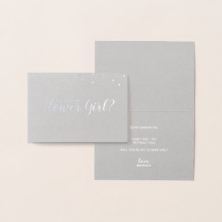Will You Be My Flower Girl? Luxury Confetti Silver Foil Card