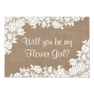 "Will You Be My Flower Girl? Rustic Burlap & Lace 5"" X 7"" Invitation Card"