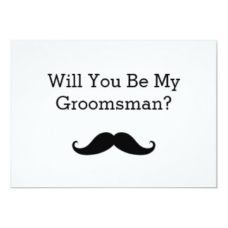 "Will You Be My Groomsman Black Mustache 5"" X 7"" Invitation Card"