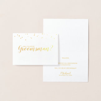 Will You Be My Groomsman? Elegant Gold Foil Card