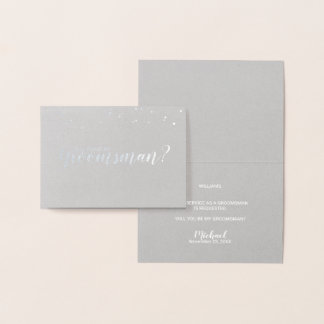Will You Be My Groomsman? Elegant Silver Foil Card