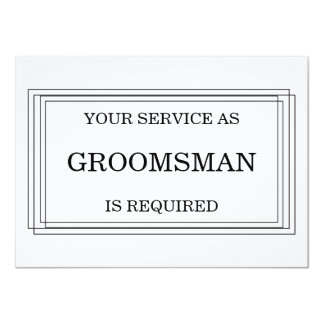 "Will you be my Groomsman? Personalized 4.5"" X 6.25"" Invitation Card"