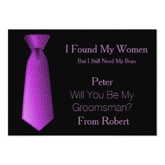 "Will You Be My Groomsman Purple & White Tie 5"" X 7"" Invitation Card"