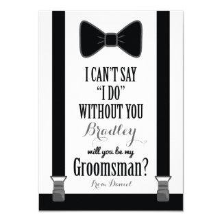 "Will You Be My Groomsman - Tuxedo Tie Braces 4.5"" X 6.25"" Invitation Card"